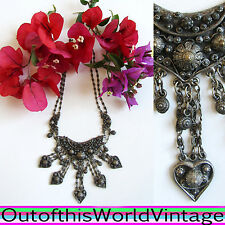 Antique Victorian Etruscan Silver Necklace Ornate Huge Chunky Encrusted Charms
