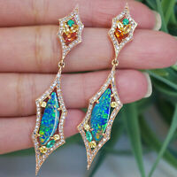 Solid 18 K Rose Gold Pave Diamond Opal Dangle Earrings Sapphire Gemstone Jewelry