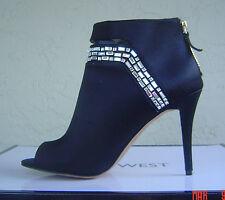 NEW NINE WEST BLACK SATIN EMBELLISH PEEP TOE BOOTIES SIZE 8 M $119