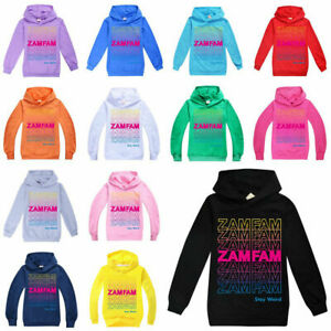 Kids Zamfam Hoodie Top Rebecca Zamolo Youtuber Pullover Hooded Jumper Sweatshirt