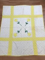 Antique Twinkling Yellow Tulip Quilt Four Tulips Square Handmade Farmhouse