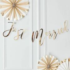 Gold Just Married Bunting Gold Just Married Backdrop Gold Wedding Decor Rustic