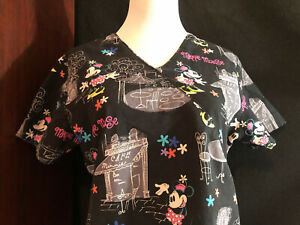 Scrubs Scrub Top Cartoon Disney Mickey Minnie Mouse Cafe Small S (H29) READ AD