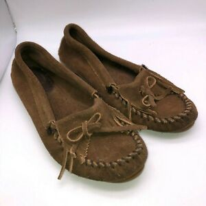 Minnetonka Moccasin Brown Leather Suede Loafers Shoes Fringe Slip On Size 6