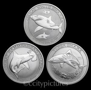 All (3) 1/2 oz Great White Hammerhead & Tiger Silver Australian Shark Coins