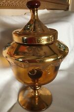 Vnt Bohemian Amber Crystal Glass Gold Enamel Flowers Footed Candy Bowl Italy *