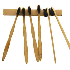 100PCS/Lot Natural Bamboo Toothbrush Soft Black Bristles For Adult Wholesale