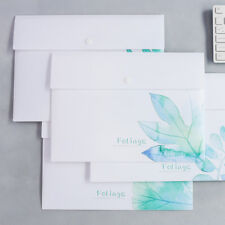 """Green Leaves"" Pack of 4 File Folder Big Size Study Working Document Plastic Bag"