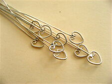 10 Bali Sterling Silver Twisted Heart Headpins 55mm
