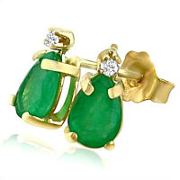 14K YELLOW GOLD 1.50CT GENUINE PEAR SHAPED EMERALD AND DIAMOND STUD EARRINGS