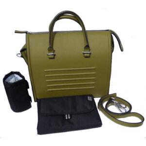 GENUINE GENEVA LEATHER HANDBAG/CHANGING BAG IN ALOE WITH ACCESSORIES BNIP
