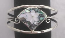Bracelet Cuff Daisy/Flower Mother Pearl MOP Abalone Shell wedge new bendable tri