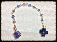 Pocket Rosary MADE WITH Swarovski Lt Amethyst Sapphire Heliotrope Gold Links