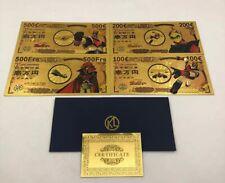 Lot de 4 Billets GOLDORAK et ALBATOR Yen gold card or