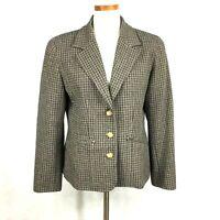 Liz Claiborne Liz Wear Womens Tan Black Plaid Wool Blend Blazer Jacket sz10