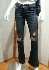 LEVI'S Jeans Dark Blue Denim SLOUCH 504 1M Flare Factory Ripped Low Rise 32x32