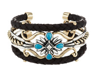 """AMERICAN WEST STERLING & BRASS TURQUOISE LEATHER 6-3/4"""" CUFF BRACELET QVC $194"""