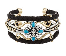 """AMERICAN WEST STERLING & BRASS TURQUOISE LEATHER 7-1/4"""" CUFF BRACELET QVC"""