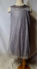 ANOTAH KIDS GIRLS 9 10 SILVER SEQUIN BUBBLE DRESS PARTY HOLIDAY CHRISTMAS