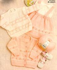 """Baby Girl Skirt Sweater Cardigan Flower Eyelet 16"""" - 26"""" DK Knitting Pattern"""