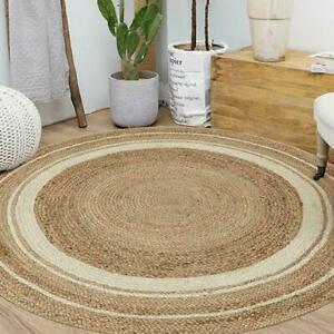 Natural Jute Round Rug Indian Braided rustic look Floor Rug Handmade Jute Rug