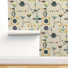 Peel-and-Stick Removable Wallpaper Birds Mid Century Midcentury Modern Abstract