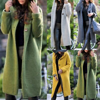 Frauen Langarm  Strickjacke Sweater mit Kapuze Kapuzenpullover Longtops