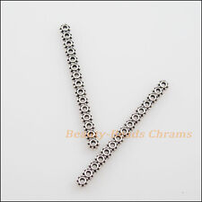8Pcs Antiqued Silver 15-Hole Spacer Bar Beads Connectors Charms 3.5x46mm