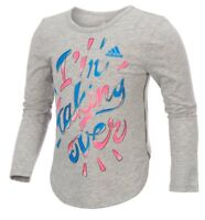 NWT ADIDAS ~ GIRLS SIZE 6X GRAY LONG SLEEVE TEE 'I'm Taking Over' ~ MSRP $22.00