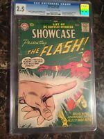 Showcase #8 CGC 2.5 *1st Captain Cold* + 2nd Silver Age Flash UNPRESSED OLD CASE