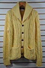 M's Ralph Lauren, Cotton-Cashmere CABLE Cardigan W/ Leather Buttons. Size M $495