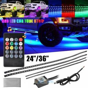 "36""/48"" RGB LED Strips Car Truck Underbody Under Glow Neon Light Tube System Kit"