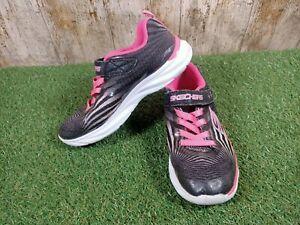 Skechers girls black pink trainers size UK 2 EUR 35