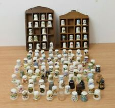 Collection 120 Thimbles & 2 Wooden Display Cases including Wedgwood, Coalport