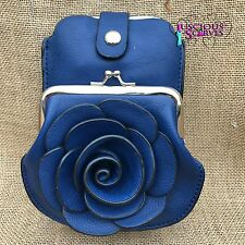 Navy Rose Purse Small bag with Phone Spectacles Holder Long & Short Straps