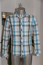 bonito camisa de cuadros azul y marrón DIESEL talla M EN EXCELENTE ESTADO