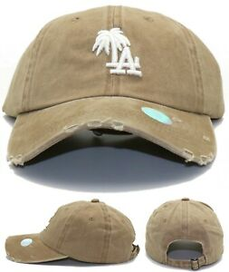 Los Angeles New Leader Palm Headlines Ladies Women Dodgers VTG Tan Era Hat Cap