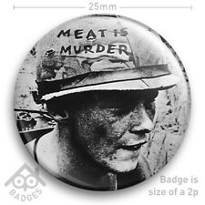 """The Smiths Meat Is Murder Morrissey Johnny Marr Vegetarian 25mm 1"""" Badge"""