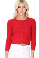 YEMAK Women's Knit Pattern Cropped Button-Down Casual Cardigan Sweater MK3514Y