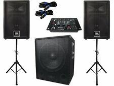 Das PA-SET 46 JBL 2.1 Aktiv Subwoofer Anlage Stativ Boxen Mixer Musiker Band DJ