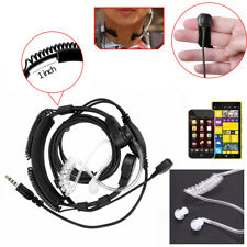 Military Tactical Throat Mic Headset/Earpiece with Finger PTT For IPhone Samsung