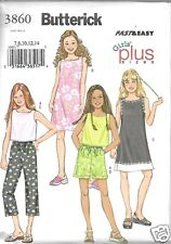 B3860 Girls' Top Dress Shorts and Pants Sizes 7-14 Butterick Sewing Pattern