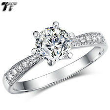 Tt 18K White Gold Gp 1 Ct Engagement Wedding Ring Size 5-8 (Rf101)