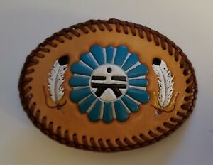 """Vintage Hand Stitched & Hand Painted Leather Belt Buckle 4-1/2"""" X 3-1/4"""""""