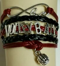 VOLLEYBALL LEATHER CHARM BRACELET SILVER ADJUSTABLE-MAROON/BLACK-SPORTS#171