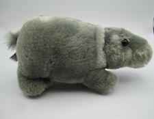 "Grey Hippo Plush Stuffed Animal Hippotamus by Aurora 8"" Super Soft"