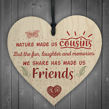 Fun &amp Laughter Cousin Wooden Heart Family Plaque Thank You Gift Birthday
