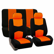 Car Seat Covers Orange Black For Auto Car w/Two Headrests Cover