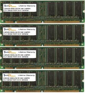SET OF FOUR 128MB PC100 CL3 2RX8 168PIN NON ECC DESKTOP DIMM MEMORY RAM