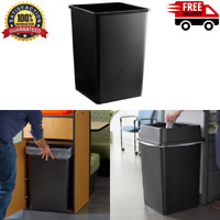 Black 35 Gallon Square Heavy Duty Plastic Trash Can 475SQ35BK